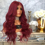 Wine Red Color Brazilian Wavy Remy Hair Long Part Pre Plucked natural hairline Baby Hair/Free Shipping