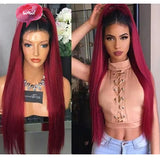 Synthetic Hair African American Black Ombre Wine Red Straight Lace Front Wigs/Free Shipping