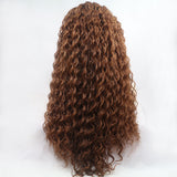 Ladiesstar Water Wave Synthetic Lace Front Wig Loose Curly Heat Resistant Fiber Wig Brown Color With Baby Hairs For Women/Free Shipping