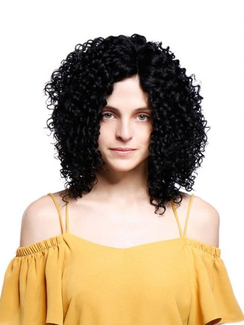 Short Inclined Fringe Fluffy Kinky Curly Synthetic Wig