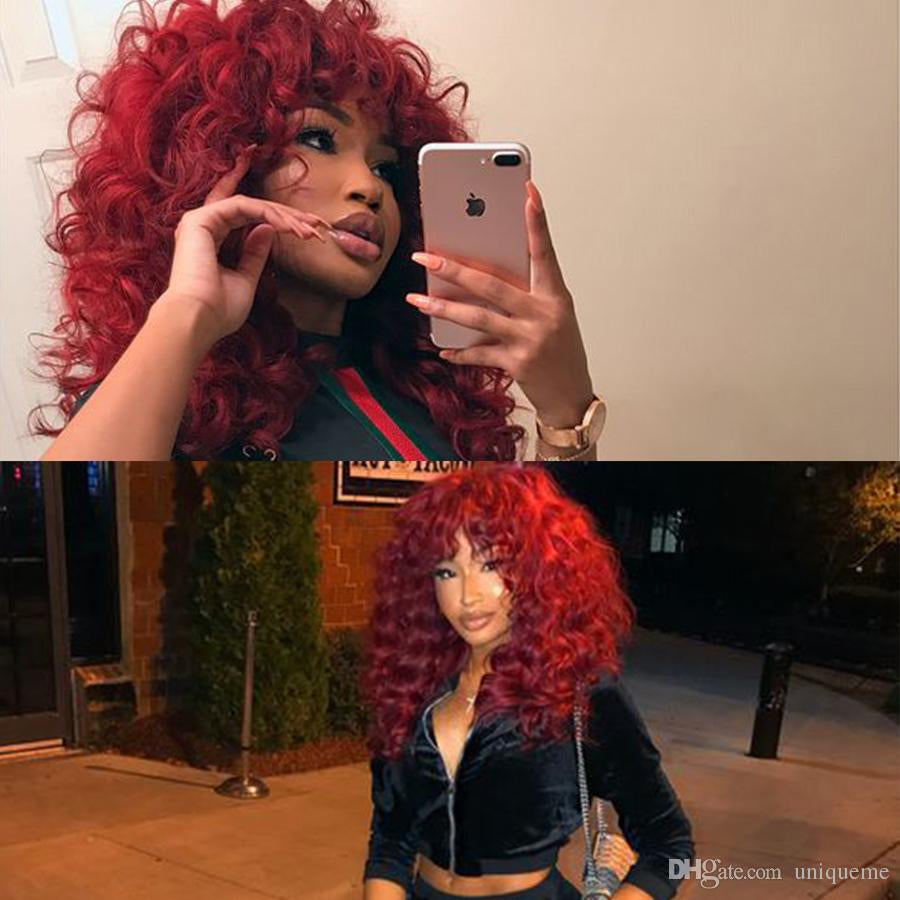 Long Burgundy red wig synthetic wigs lace front synthetic hair kinky curly wig/Free Shipping