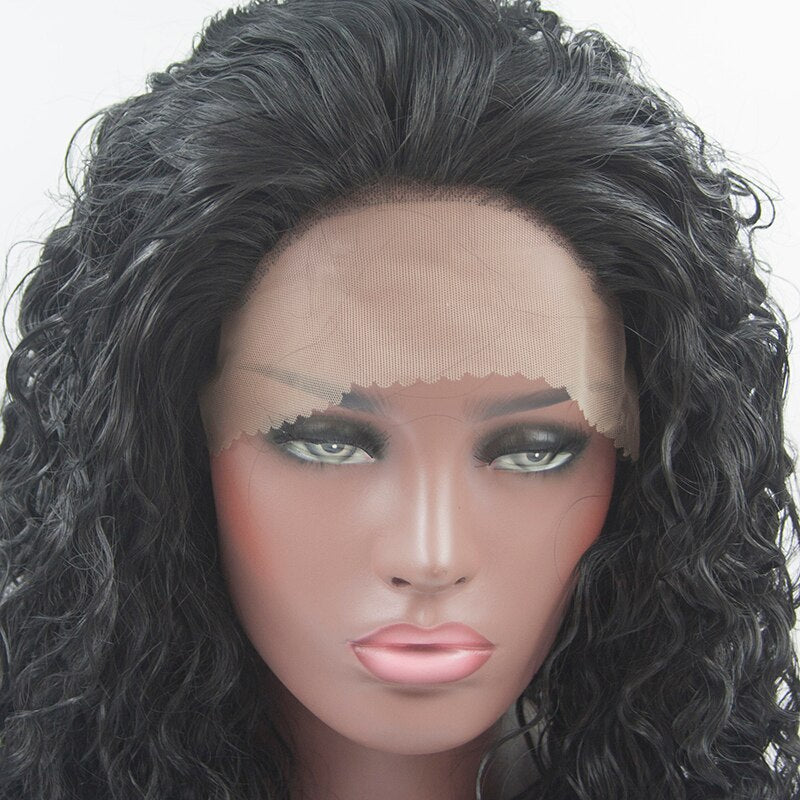 Fantasy Beauty Long Water Wave Synthetic Lace Front Wigs Black Color Hair for Black Women/Free Shipping