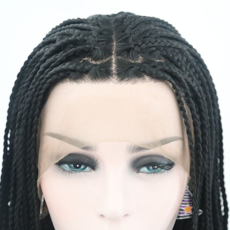 Braided Wigs For African American Women Short Bob Micro Box Braids Lacefront Wig