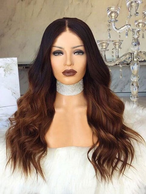 Ladystar Lace Front Wigs Long Center Parting Gradient Natural Wave Synthetic Wig