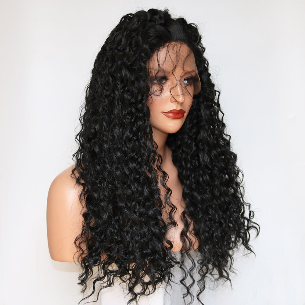 Fantasy Beauty 180 Density Long Loose Curl Hair Wigs Black Color Heat Resistant Synthetic Lace Front Wig for Fashion Girls