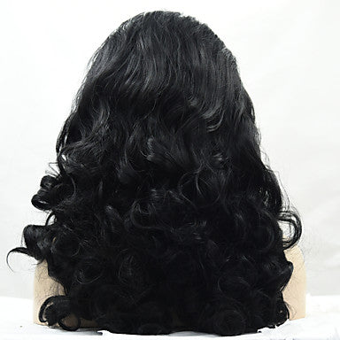 Loose Wave Style Lace Front Wig Black Dark Black Synthetic Hair/Free Shipping