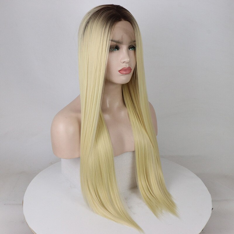 Fantasy Beauty 4 T 613 Ombre Blonde Wigs with Dark Roots Straight Lace Front Wig Synthetic Heat Resistant Wigs for Women 24 Inch