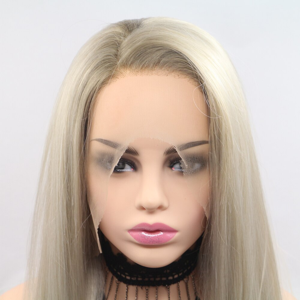 Fantasy Beauty Glueless Blonde Ombre Lace Front Wigs Synthetic Realistic Looking Side Part Long Straight Dark Roots Mixed Color/Free Shipping