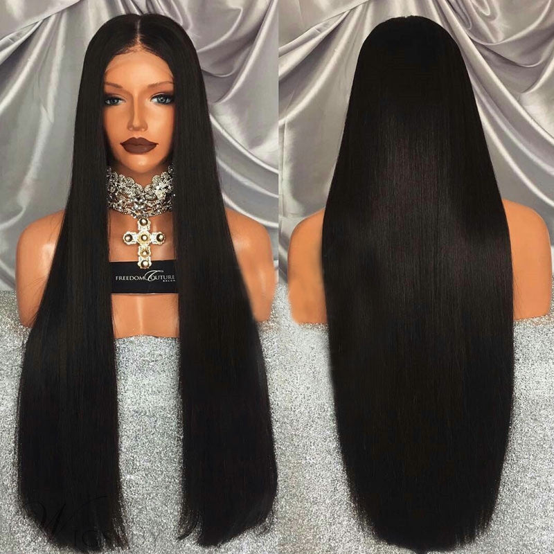 Middle Part Black Long Straight Lace Front Synthetic Lace Front Wig/Free Shipping