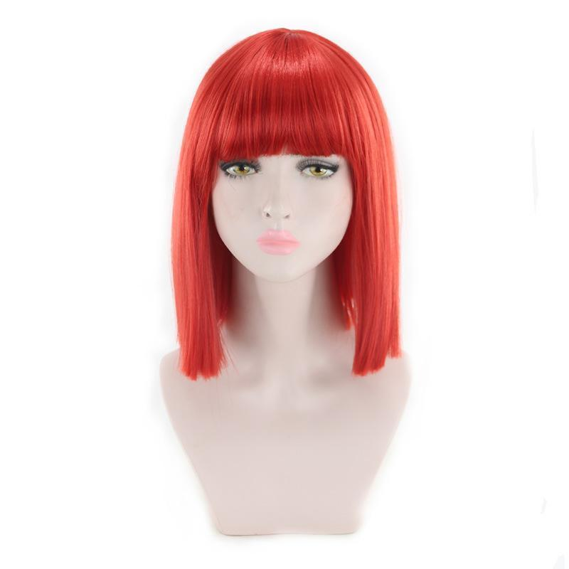 Women's Short Bob Yaki Synthetic Full Hair Wig Heat Resistant Short Straight Wig/Free Shipping