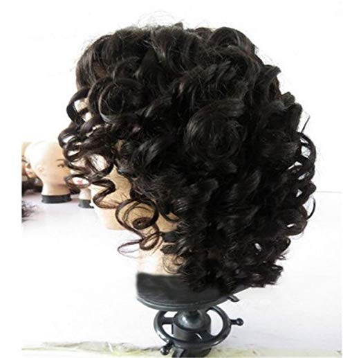 100% Brazilian Virgin Human Hair Short Bob Curly Full Lace Wig Lace Front Wig/Free Shipping