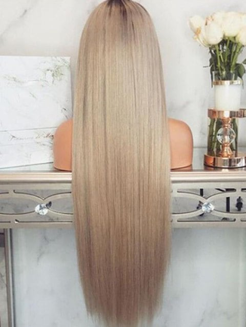 Middle Part Ombre Long Straight Cosplay Synthetic Wig/Free Shipping