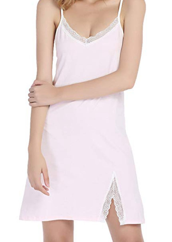 White Lace Strap Nightdress Split Sleepwear/Free Shipping