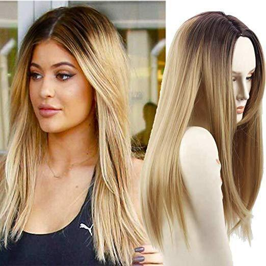 Synthetic Wigs Long Straight Ombre Wig Heat Resistant Fiber Mint