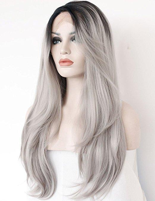 Dark Roots Long Natural Straight Silver Grey Replacement Hair Wigs/Free Shipping