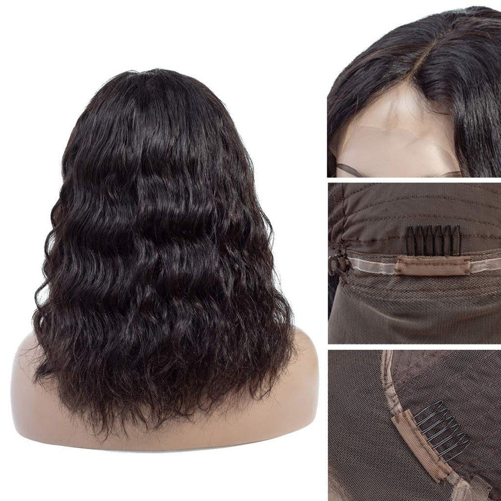 Natural Wave Short Bob Style 13×4 Lace Front Wigs For Black Women 180% Density