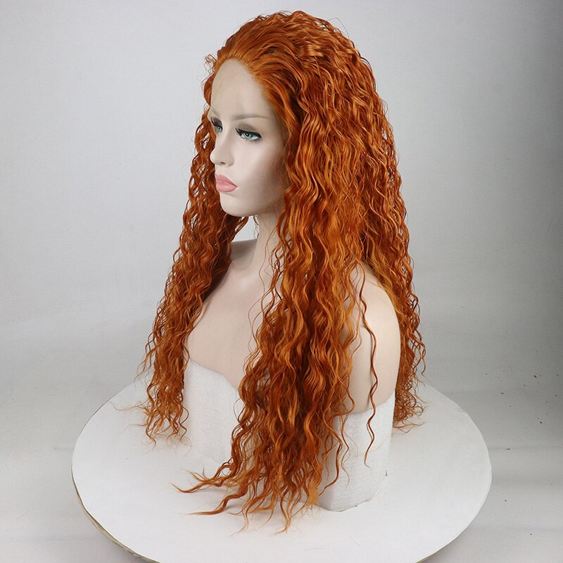 Ladiesstar New Style Orange Red Loose Curly Natural Looking Heat Resistant Fiber Glueless Synthetic Lace Front Wigs For Women