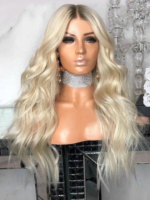 Foxwigs Lace Front Wigs Middle Part Long Colormix Natural Wave Hair Wig/Free Shipping