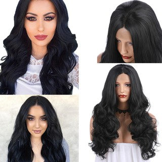 Sexy Women Natural Curly Lace Front Synthetic Wig Long Brazilian Wave Wavy Wigs