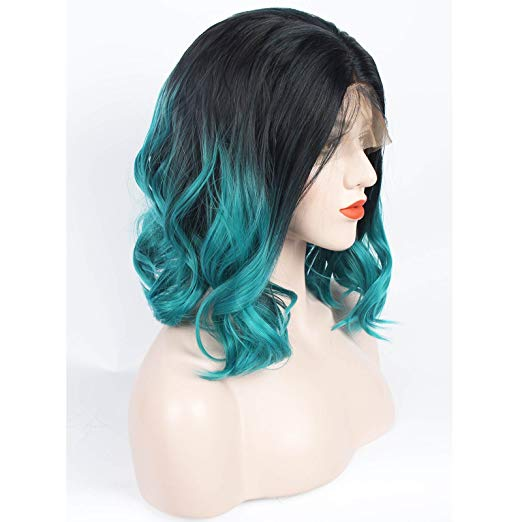Ladiesstar Ombre Blue Synthetic Lace Front Bob Wig Realistic Looking Heat Resistant Fiber Lace Wig For Women/Free Shipping