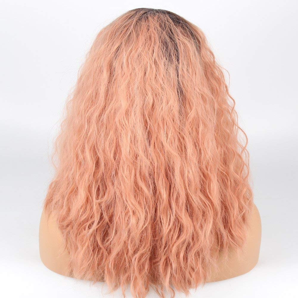 Ladiesstar Curly Ombre Candy Pink Synthetic Lace Front Wig Heat Resistant Fiber Replacement Pink Curly Bob Cut Wigs For Women/Free Shipping
