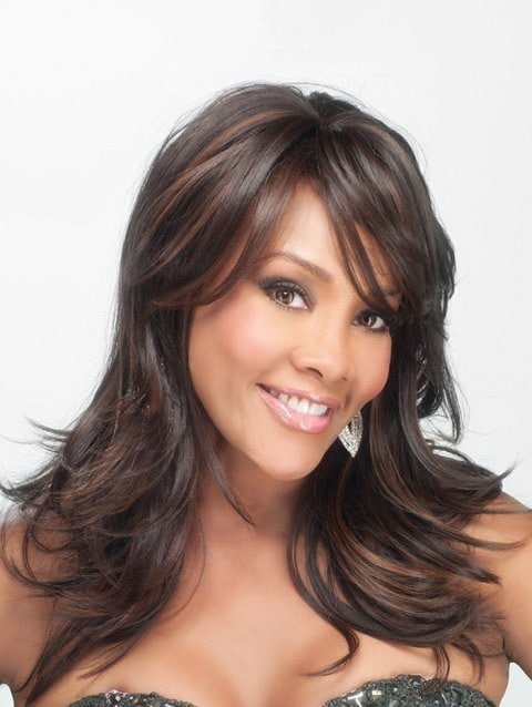 Long Side Bang Colormix Layered Slightly Curly Synthetic Wig/Free Shipping