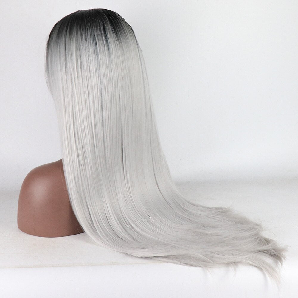 Fantasy Beauty Ombre Gray Dark Roots Synthetic Lace Front Wig Long Natural Straight Hair Wig Heat Resistant Fiber Hair For Women/Free Shipping