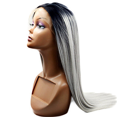 Lace Front Wig Straight Synthetic Hair Natural Hairline Gray/Free Shipping