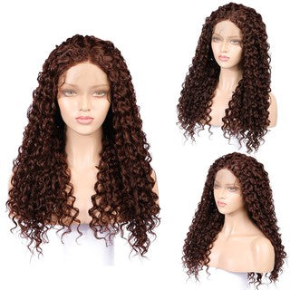 Long Curly Wavy Synthetic Wig Natural Black Women Fashion Lace Front Wig + Cap
