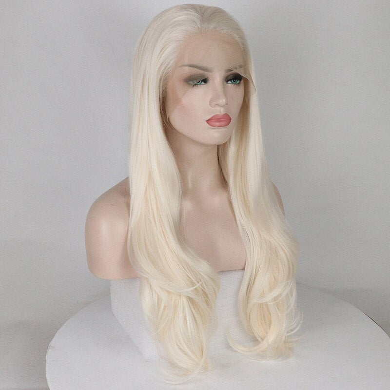 Ladiesstar Glueless Platinum Blonde Synthetic Lace Front Wig Long Wavy Wigs for Women Heat Resistant Fiber 24 Inches