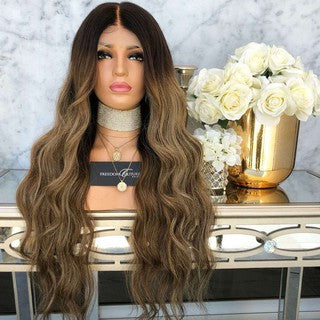Sexy Natural Curly Lace Front Synthetic Wig Fashion Women Gradient Long Wigs