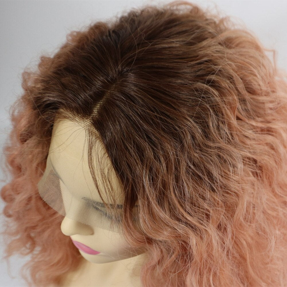Ladiesstar Short Bob Lace Front Wig Synthetic 2 Tones Ombre Dark Roots to Pastel Pink Wig Glueless Wave Hair Heat Resistant Fiber