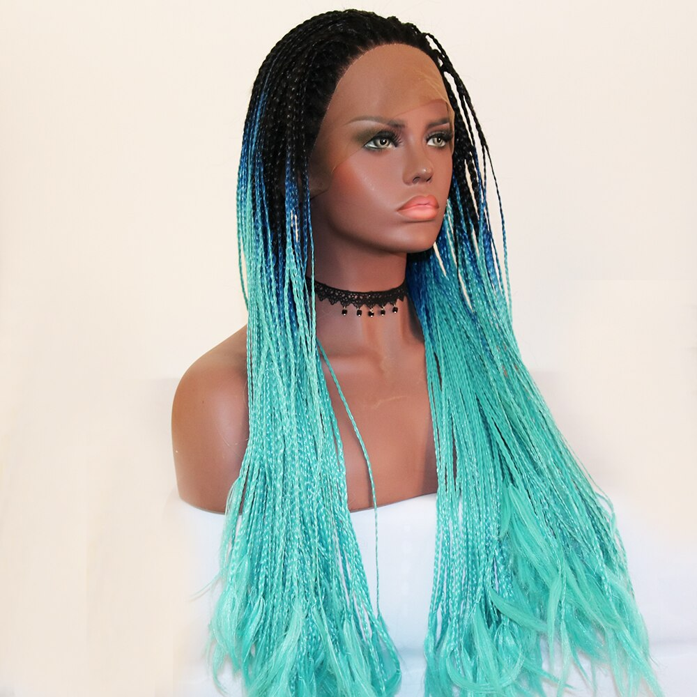 Fantasy Beauty Black Ombre Dark Blue Lace Front Wig Ombre Braided Box Braids Synthetic Wigs with Dark Roots for Black Woman