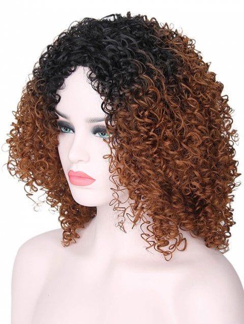 Foxwigs Lace Front Wigs Afro Curly Medium Gradient Hair Wig/Free Shipping