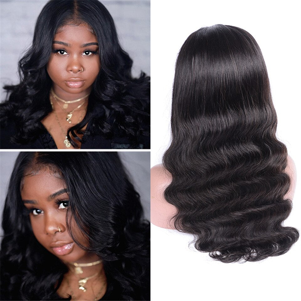 Mellow Lace Frontal 100% Human Hair Wigs Pre Plucked Body Wave Lace Front Wigs 150% Density Peruvian Wigs For Black Human