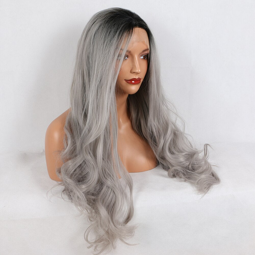 Fantasy Beauty Ombre Gray 2 Tones Synthetic Lace Front Wig Dark Roots Long Natural Wave Silver Grey Replacement Full Wig/Free Shipping