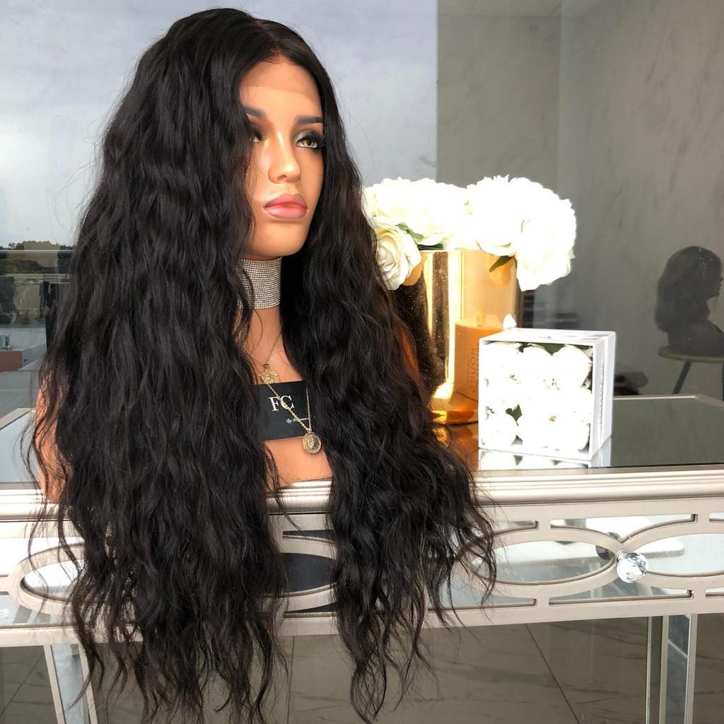 Synthetic Wig Wavy Style Black Natural Lace Front Wig/Free Shipping