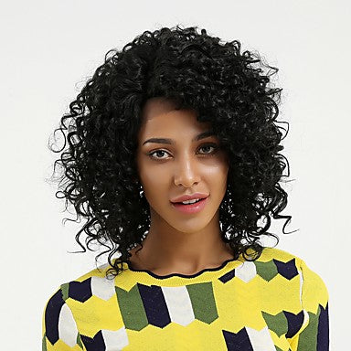Curly Style Side Part Lace Front Wig Black Natural Black Synthetic Hair