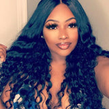 Black long wave Lace Front wig
