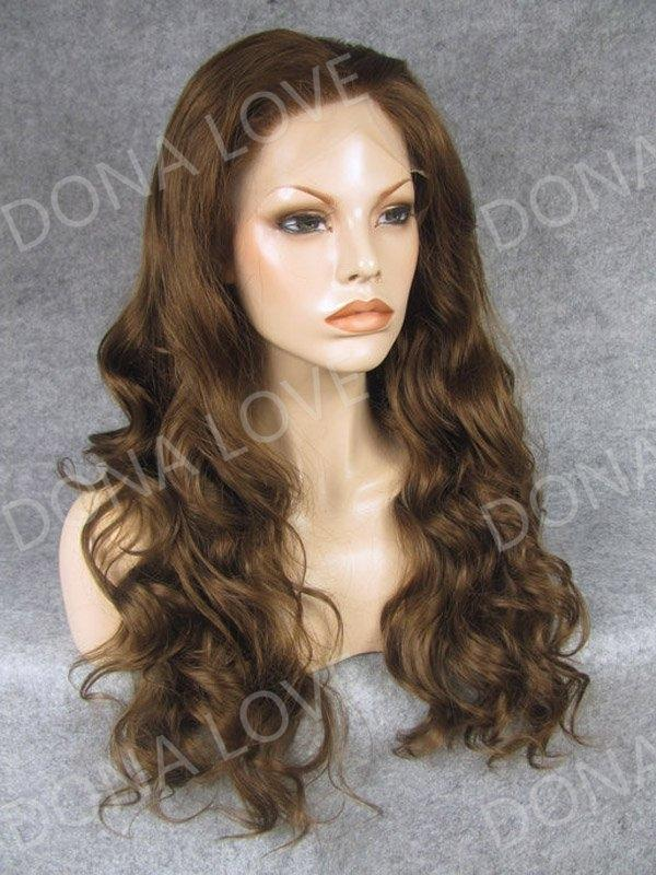 Brown Waist-length Wavy Synthetic Lace Front Wig-