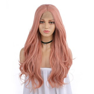 Natural Curly Lace Front Synthetic Wig Sexy Women Long Pink Wave Wavy Wigs/Free Shipping