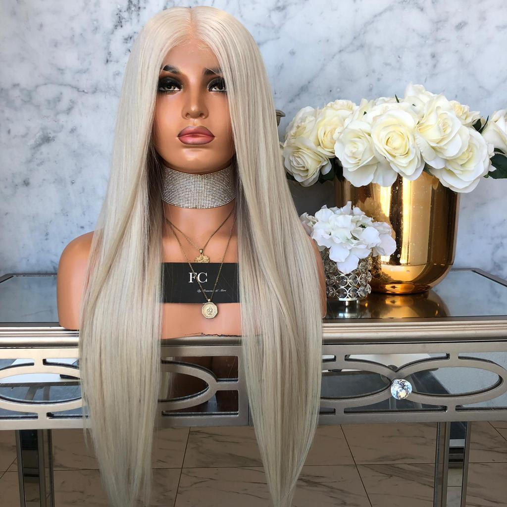Platinum Blonde Silky Straight  Lace Front Wigs