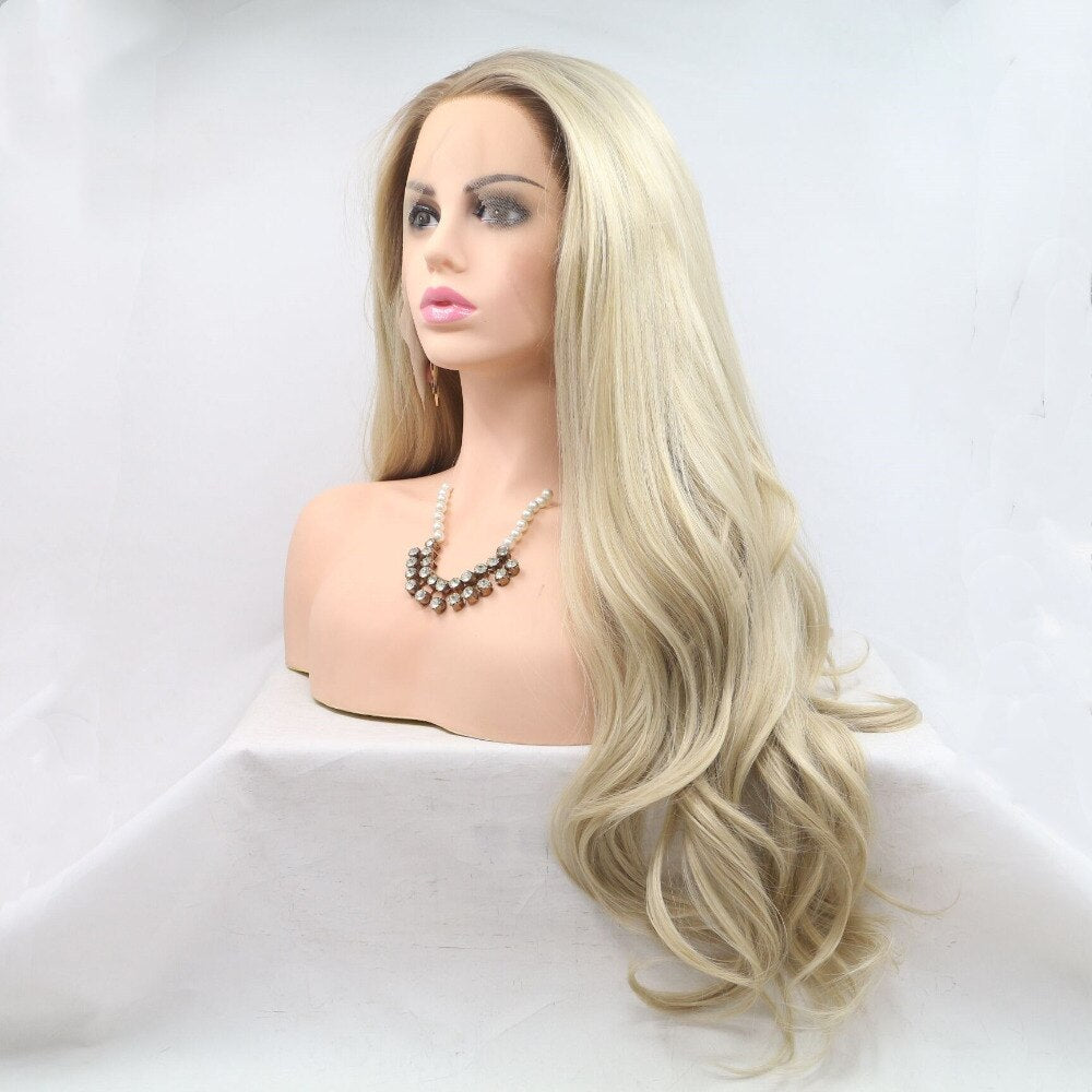 Ladiesstar Natural Looking Half Hand Tied Long Wavy Heat Resistant Fiber Synthetic Dark Root Lace Front Ombre Blonde Wig