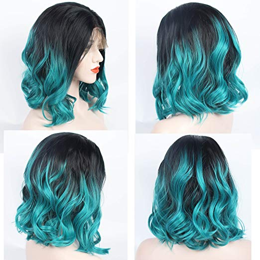 Ladiesstar Ombre Blue Synthetic Lace Front Bob Wig Realistic Looking Heat Resistant Fiber Lace Wig For Women