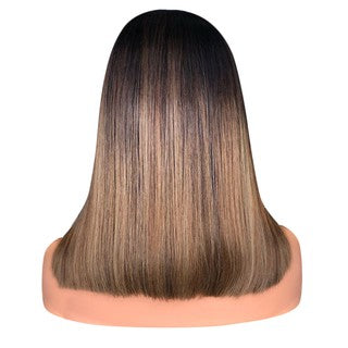 Natural Straight Human Hair Lace Front Wigs Bob Gradient Wig for Women