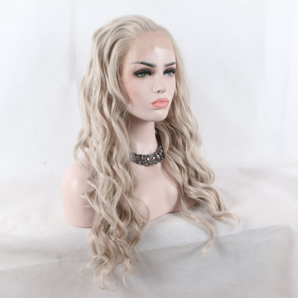 Ladiesstar Natural Looking Heat Resistant Fiber Platinum Blonde Loose Curly Synthetic Lace Front Wig For Women Replacement Wig