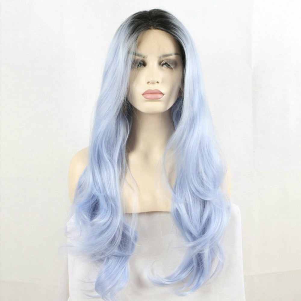 Fantasy Beauty Dark Root Ombre Pastel Blue Heat Resistant Fiber Hair Long Nature Wave Light Blue Synthetic Lace Front Wigs