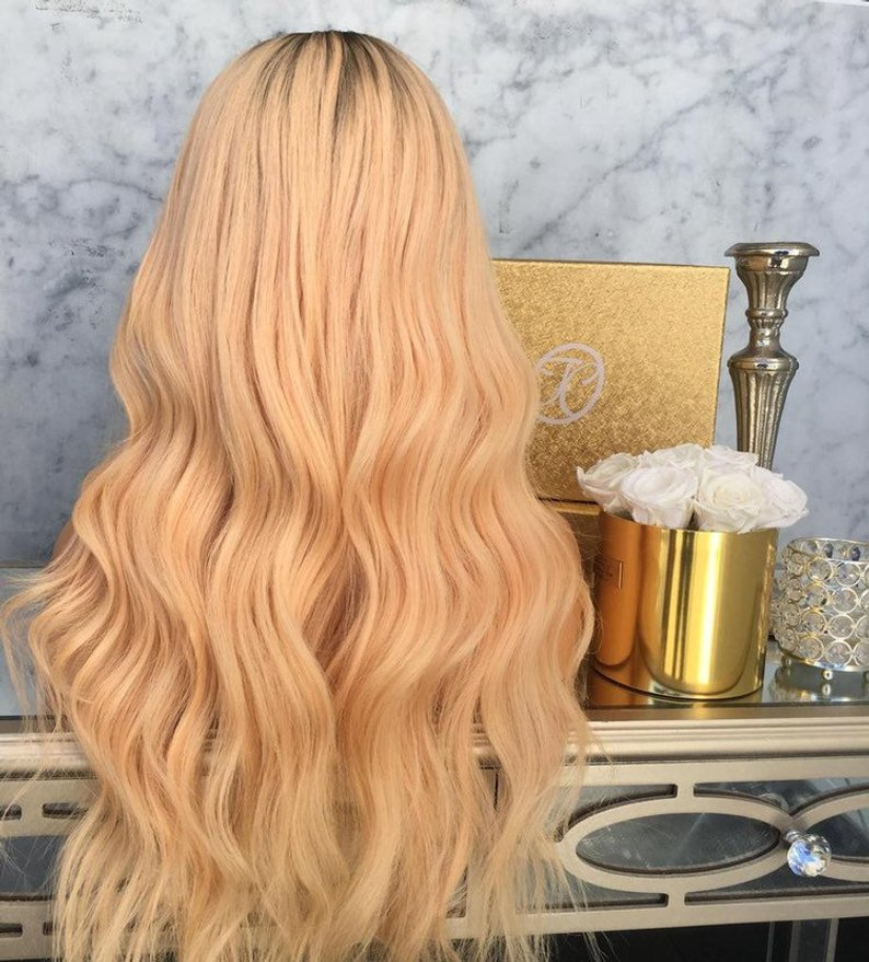 Blonde dark roots 24 inch lace front wig/Free Shipping