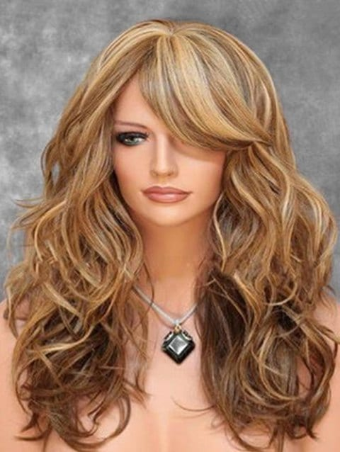 Ladystar Lace Front Wigs Oblique Bang Body Wave Long Synthetic Wig