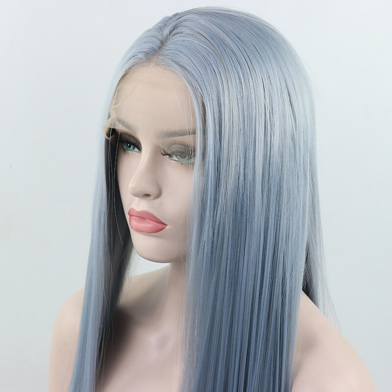 Fantasy Beauty Light Blue Long Straight Synthetic Lace Front Wigs Heat Resistant Fiber Hair Replacement Wig for Woman
